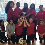 Year 7 girls football team trophy